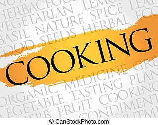COOKING word cloud collage, food concept background