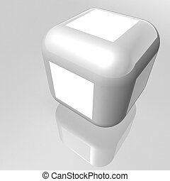 cube - surround a cube with chamfered corners of metallic...
