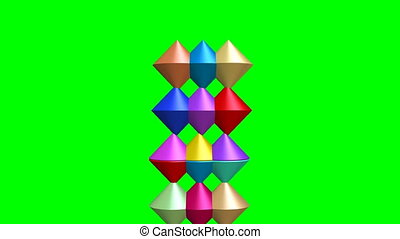 Intro animation with multicolored cone set in 3d design on...