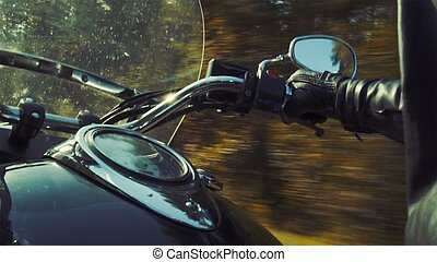 Motorcyclist on the road tripping