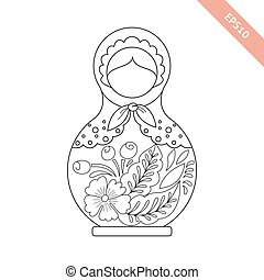 Black line nesting doll with floral ornament isolated on...