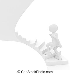 person walks up stairs - 3d render series: person walks up...
