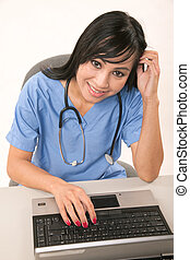 Attractive thirties asian female healthcare worker