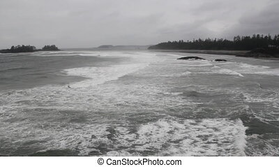 Stormy ocean Wide shot - Wide shot of the Pacific ocean on a...