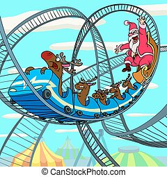 Riding Santa Claus - Happy Santa Claus and scared deer is...