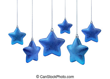 Blue roundish Christmas stars - Roundish blue Christmas or...