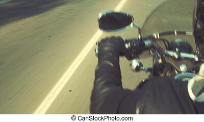 Biker on the road tripping