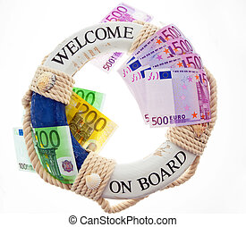 Life ring and ?. Rescue Greece. Symbol national debt.