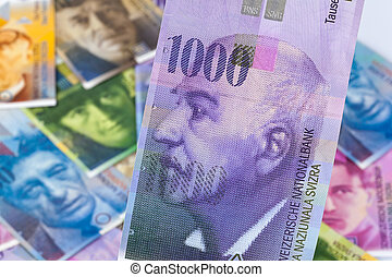 Swiss francs. Money from Switzerland. Close up