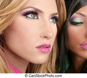 barbie doll makeup macro blonde and brunette models retro...