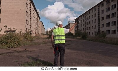 Worker take off drone