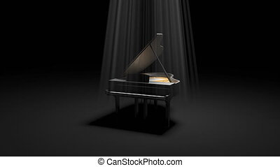 Black Pinao in the Dark - Luxury black piano in the dark...