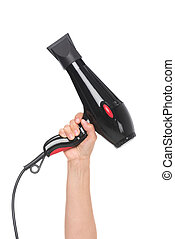 hairdryer - cropped shot of hand showing hairdryer isolated...