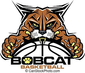 bobcat basketball team design with mascot and ball for...