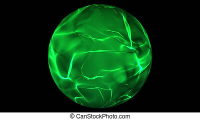 Green glowing energy ball over transparent background