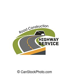 Road highway construction service vector icon - Road safety...