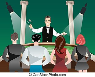 Casino and roulette with men women and croupier. Vector...