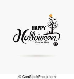 Halloween banner calligraphy.Halloween trick or treat party...