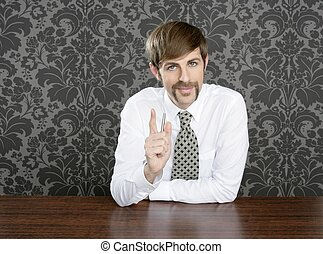 businessman retro on office table salesperson