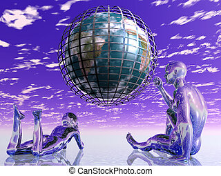 Aliens watching earth - God-like beings play with the earth...