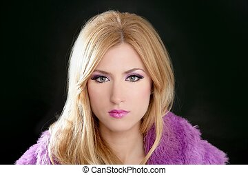 barbie blonde beautiful woman portrait pink fashion on black...