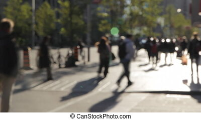 People walking in the city. Timelap - Defocused timelapse...
