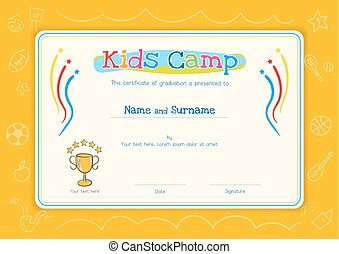 Kids Diploma or certificate template for kids camp with hand drawing cartoon style background