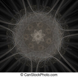 Nuclear radiation. Image molecules and atoms. Elementary...