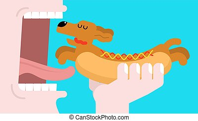 Eat Hot dog dachshund. Open mouth and teeth. Pet Animal...