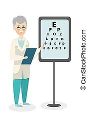 Ophtalmologist with test. - Ophtalmologist with medical test...