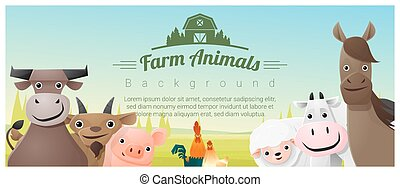 Farm animals and Rural landscape background , vector ,...