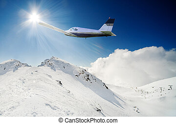 Flying over snow