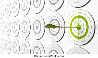 green arrow hitting the center of a green target there is grey targets around