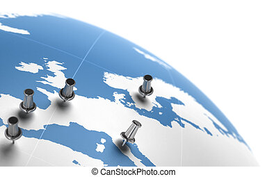 thumbtack on a blue world map - image is positioned at the corner of a page - this is a 3d image