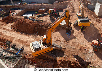 Construction Site - Construction site with yellow tractors