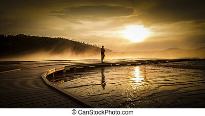 Grand prismatic spring, Yellowstone - Sunset view of Grand...