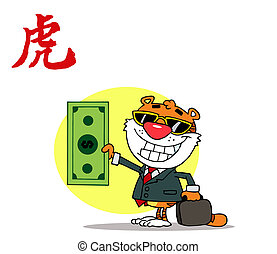 Successful Tiger Holding Cash