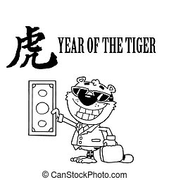 Outlined Wealthy Tiger Holding Cash With A Year Of The Tiger...