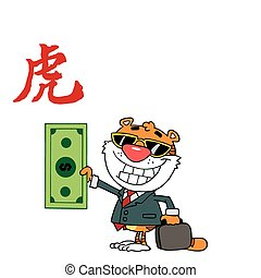 Wealthy Tiger Holding Cash