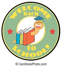Mascot-Bookworm With Text - Cartoon Mascot-Bookworm With...