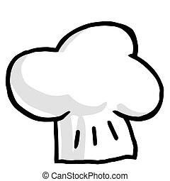 Illustration-Chef\'s Hat  - Fluffy Grayscale Chef Hat