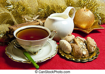 Breakfast on Christmas morning - tea and cookies with...