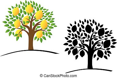 Lemon tree with green leaves. Vector illustration of a tree...