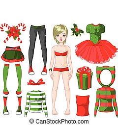 Girl with Christmas dresses - Paper Doll with different...