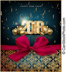 挨拶, 2018, 陽気, 年, 新しい, クリスマスカード, 幸せ