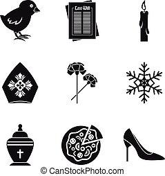 Catholic icons set, simple style - Catholic icons set....