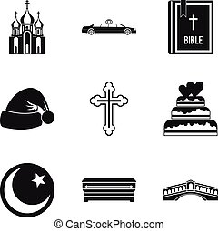 Religion sign icons set, simple style - Religion sign icons...