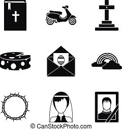 Funeral icons set, simple style - Funeral icons set. Simple...