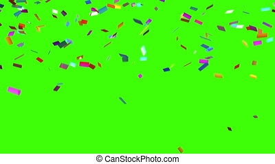 Confetti Falls on a Green Background, Looped 3d Animation,...