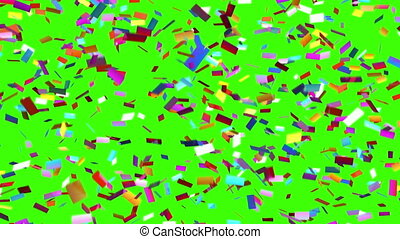 Slowly Falling Confetti on a Green Background, Seamless...